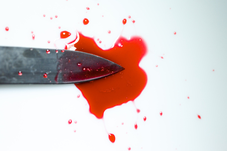 knife with blood stain Stock Photo