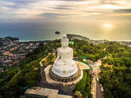 Aerial view of Phra Yai Temple Nak kad Phuket Thailand