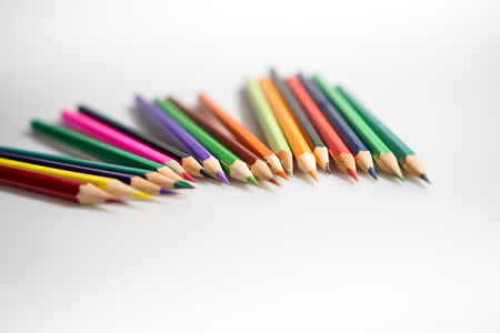 Color pencils white background colorful 스톡 콘텐츠