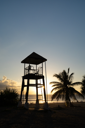 Sunset landscape lifeguard tower scenery