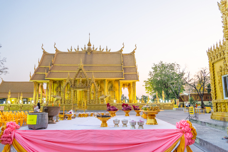 Wat paknam joelo architecture temple all gold color and evenings sky at bangkla, chachoengsao, thailand on Feb 13,2017 Editorial