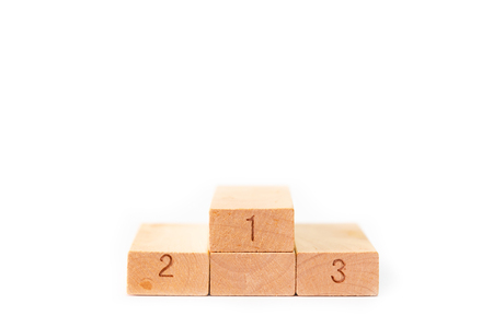 Winner Stan, Wooden blocks isolated on white background Banque d'images - 122561656