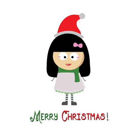 Merry Christmas and a girl with hat Santa Claus photo