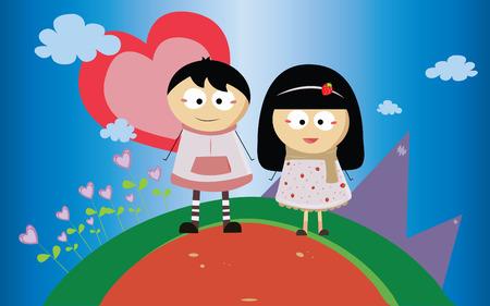 boyish: boy and girl with first love Stock Photo