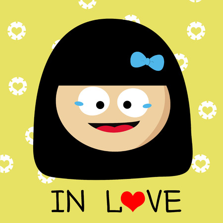 boyish: girl falling in love cartoon Stock Photo