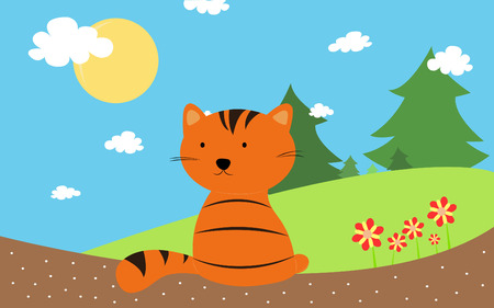 orange cat with summer time photo