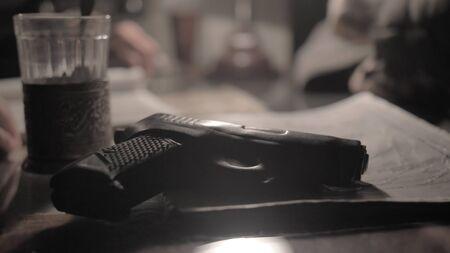 Gun on the desk of an NKVD officer