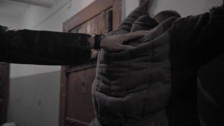 Prisoner in a Soviet prison lead along the corridor Banque d'images