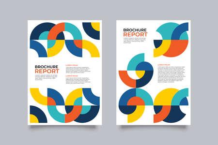 Brochure creative design. Multipurpose template, include cover, back and inside pages. Trendy minimalist flat geometric design. Vertical a4 format. Ilustração Vetorial