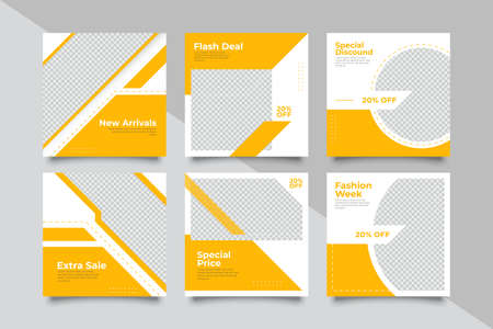 New 6 Set of Editable minimal square banner template. Suitable for social media post and web/internet ads. Vector illustration with photo college - Vector