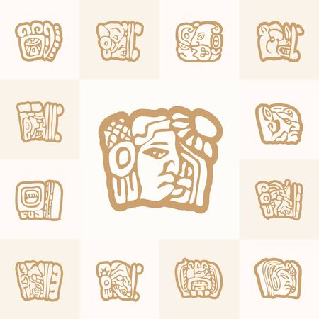 Vector set of Mayan and Aztec. Icon mask. Ancient gods. Mexican culture