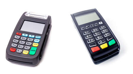 Pos terminal on light background. Banking equipment. Acquiring. Acceptance of bank credit cards. Contactless payment. Long horizontal banner.