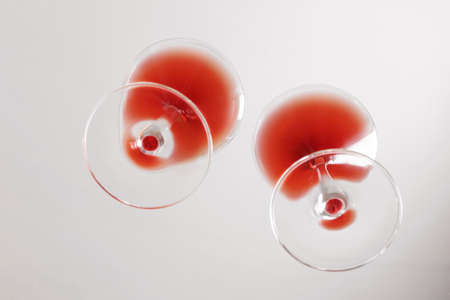 Glass with red wine, bottom view.