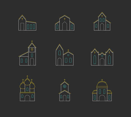 Vector set of icons of church buildings. Linear simple multicolored isolated icons in flat style on dark gray. Design template for web pages, apps and social networks.