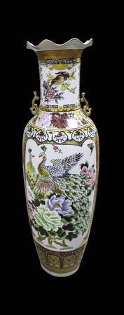 Chinese vase black background Stock Photo