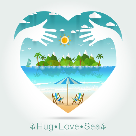 seascape: Beautiful seascape Summer in heart with hug hand concept illustration