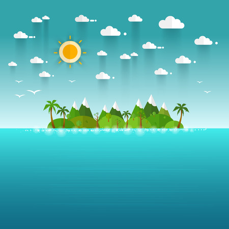 lounging: Idyllic paradise coast landscape with mountains. Summer camp vacation concept in flat style design illustration