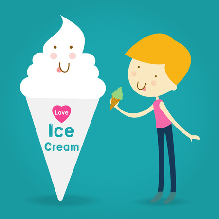 cream filled: Illustration of Happy and Excited Kids Carrying Cones Filled with Ice Cream Illustration