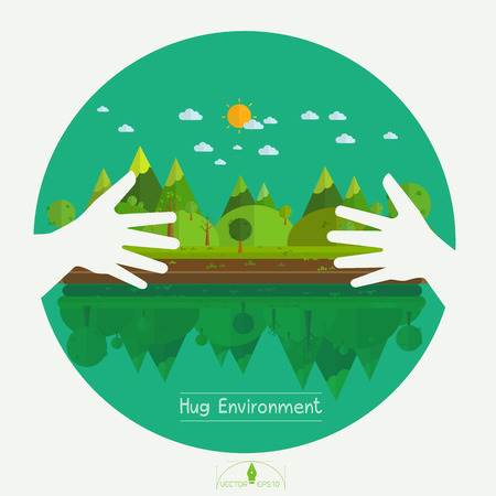 Eco friendly hands hug concept green tree.Environmentally friendly natural landscape.