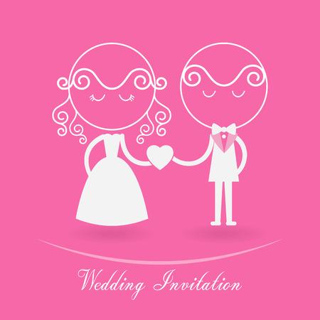 engagement cartoon: wedding invitation illustration
