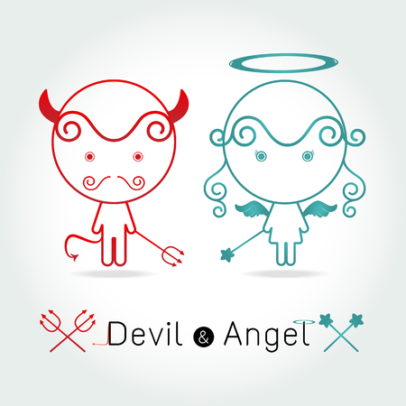 red devil: The red devil and  cute angel illustration