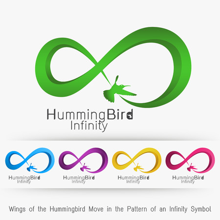 move in: wings of the hummingbird move in the pattern of an infinity symbol Illustration