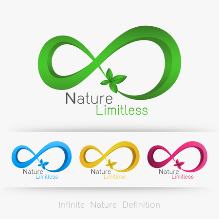 infinite: infinity with leaf, infinite nature definition concept . Illustration