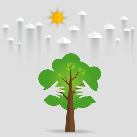 green eco: Eco friendly hands hug concept green tree.Environmentally friendly natural landscape.