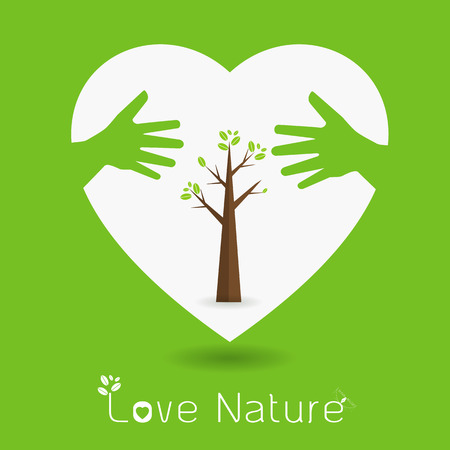 love tree: hand hug love natural concept.sign in the line art style. Illustration