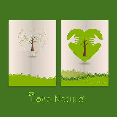 silk screen: hand hug love natural concept.Templates in the line art style.a beautiful environmentally friendly natural