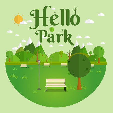 Hello Park. Natural landscape in the flat style. a beautiful park.Environmentally friendly natural landscape.