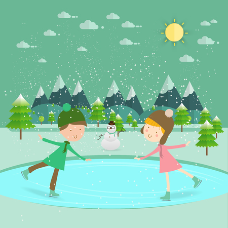 two children: Illustration of kids having fun in the winter skating rinkChildren ice skateChildren boy and girl on the winter ice-skating rink