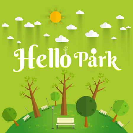 cartoon park: Hello Park. Natural landscape in the flat style. a beautiful park.Environmentally friendly natural landscape.