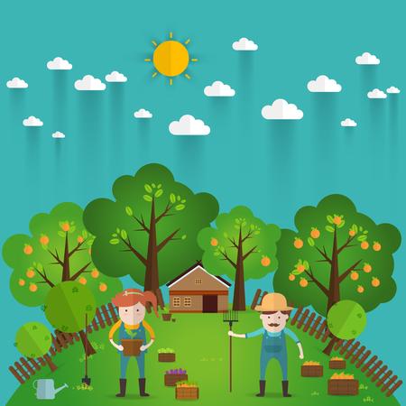 Farmer uomo e la donna l'agricoltura e l'illustrazione del paesaggio