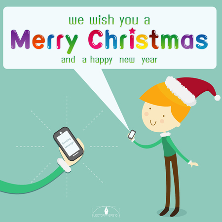 smart card: Boy wearing santa hat send message merry Christmas from smart phone on light blue background.  merry Christmas creative card