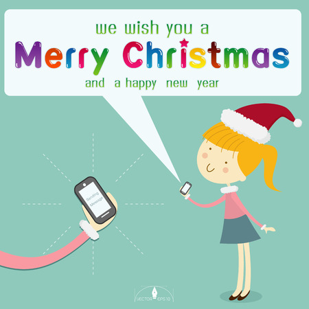 smart card: Girl wearing santa hat send message merry Christmas from smart phone on light blue background. merry Christmas creative card