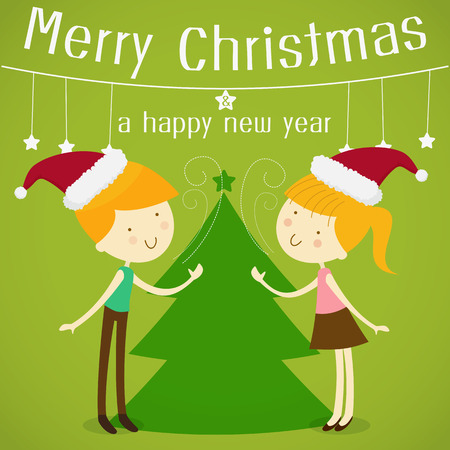 greet: Merry christmas greeting card with a cute little girl and boy wearing santa hat Illustration