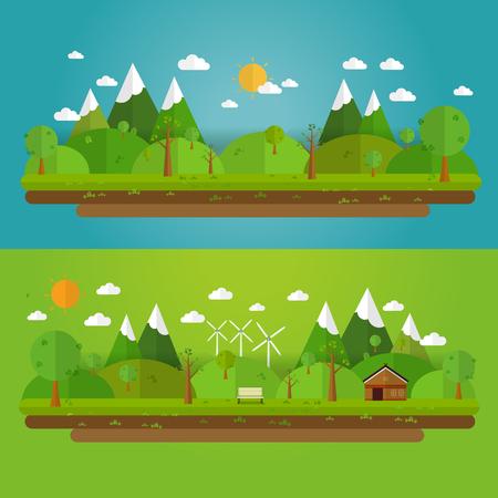 風景: フラット スタイルの自然の景観。美しい公園。環境に優しい自然の風景。