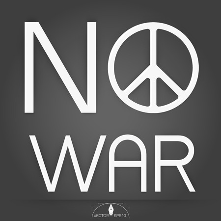 no nuclear: Peace and  No war on gray Background illustration