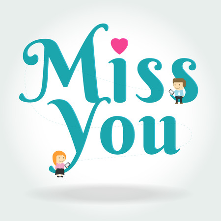bench alone: boy and girl sit down on miss you text symbol on white background illustration