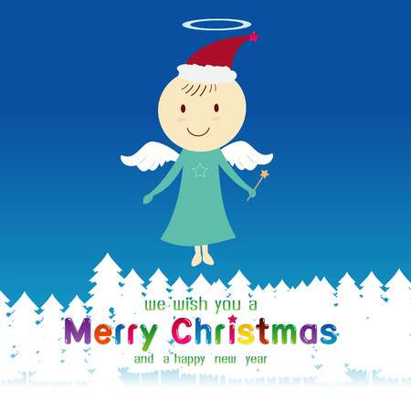 fairly: Cute angel and Merry Christmas event illustration Illustration