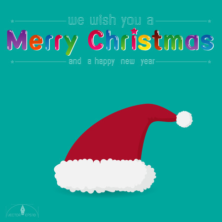 watery: Santa Claus red hat on watery blue green background. merry Christmas creative card Illustration