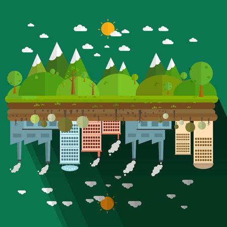 Die verschiedenen von Umwelt Landschaft Fabrik und Wald auf grünem Hintergrund Illustration
