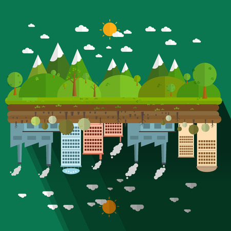 degradation: The different of Environmentally landscape factory and forest on green background illustration Illustration