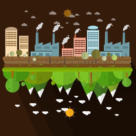 Die verschiedenen von Umwelt Landschaft Fabrik und Wald auf braunem Hintergrund Illustration