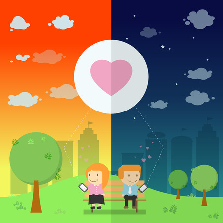 be different: The lover send the emotional heart yours resonance on smart phone in the park be different day and night illustration