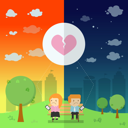be different: The lover send the emotional broken heart resonance on smart phone in the park be different day and night illustration