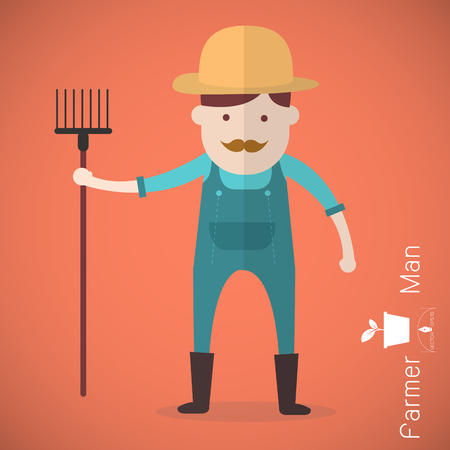 agrarian: Farmer man with hay fork on orange background illustration