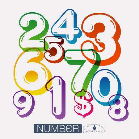 seventh: Numbers set illustration Illustration
