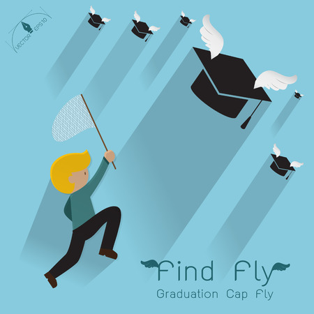 man jumping: Man jumping to find graduation cap flying Poster Background